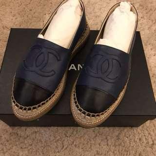 香奈兒 厚底鉛筆鞋 藍黑色36碼