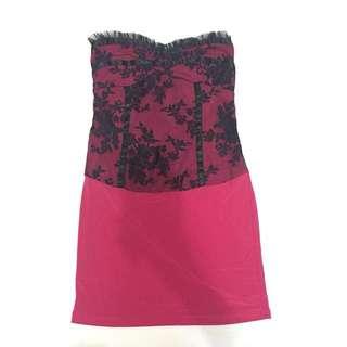Pink and Black tube dress