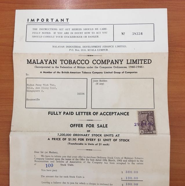 1962 Malayan Tobacco Company Limited Stock Certificates Antiques