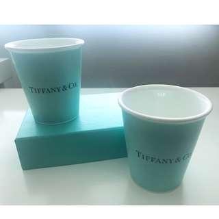 "Tiffany & Co Bone China ""Paper Cup"" Set of 2 骨瓷 杯 mug cup"