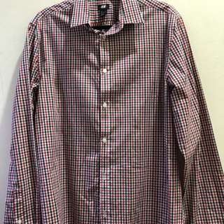 H&M Checkered Long Sleeve Polo (Large)