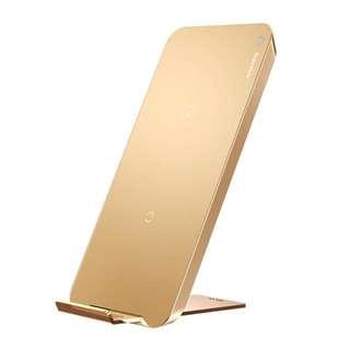 BASEUS 2-Coil Qi Wireless Charging Stand Pad  - Gold (倍思 橫豎雙線圈無線充)