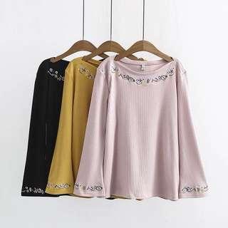 (XL~3XL) Women stretch horn sleeve knit long-sleeved shirt