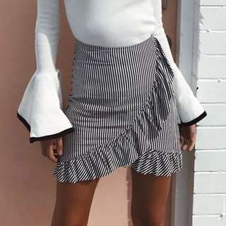 Black and white frill skirt