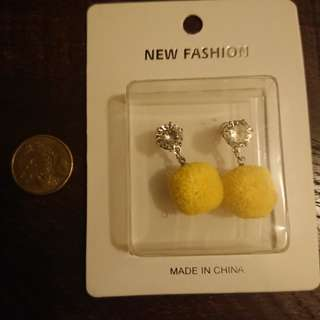 Yellow fuzzy ball earrings
