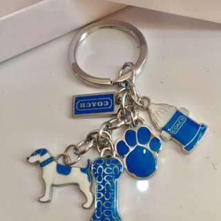 Coach 小狗藍色掛飾鎖匙扣