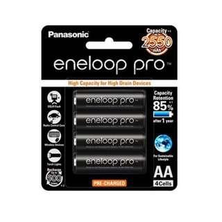 Panasonic Eneloop Pro Rechargeable Battery | High Capacity | Black | 2550 mAh | ORIGINAL | Lithium Batteries