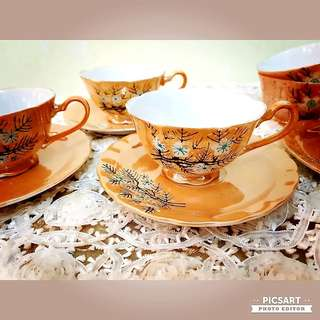 1960-70s Sakura Blossom Cups and Saucers with Orange Background.  Usual size, not small. Unused, Good Condition no chip no crack no stain. Detail below. Sms 96337309 for fast deal. 6 teapot + 4 cups for $18 special offer!