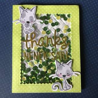 Cats thank you shaker card in green