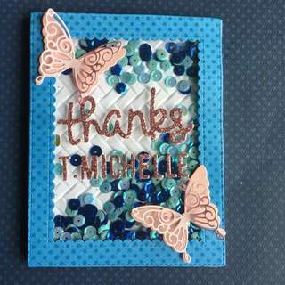 Butterflies thank you skater card