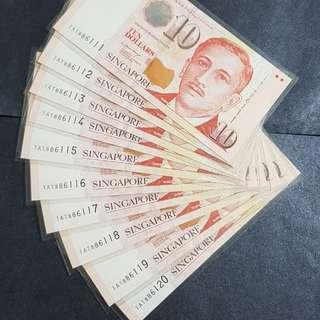 尤索$10  李显龙签名10張連号