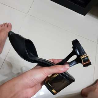Charles and keith black strap glass wedges