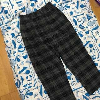 毛料格紋長褲