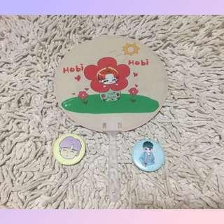 BTS 飯製 HOBI J-HOPE扇連SUGA襟章