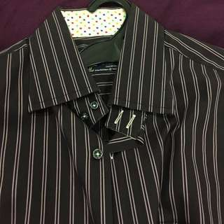10 Tailor'd party dress shirt-Dark w star lining