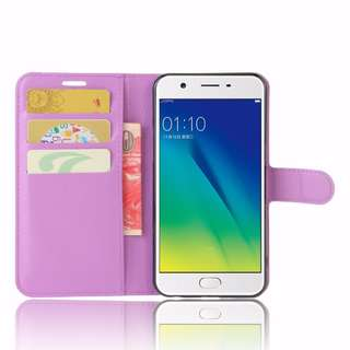 OPPO A57 Color: Purple Case Cover Wallet Style Flip Cover