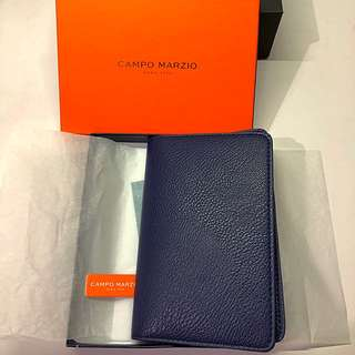 100% New Campo Marzio Dark Blue/Bright Orange Passport Case Genuine Leather