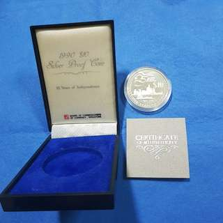 1990 $10 SILVER PROOF COIN.   25 YEARS OF INDEPENDENCE.    92.5% SILVER + 7.5% COPPER