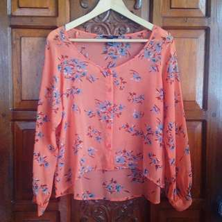 Brand New Forever 21 Orange Floral See-through Top