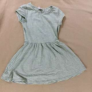 green and grey stripes dress