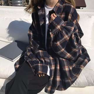 oversized vintage flannel plaid checkered jacket