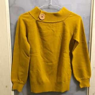 芥末黃保暖毛衣