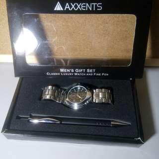 Axxent Men's Gift Set (Watch and Pen)