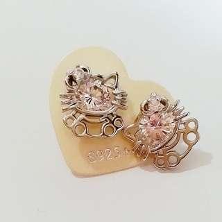 新年減價,貨品折扣75折起。可愛Hello Kitty閃令令耳環,925純銀韓國入口