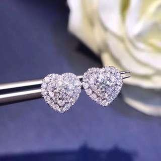 非常閃心型天然鑽石18k白金耳環❤️全新情人節女朋友生日禮物