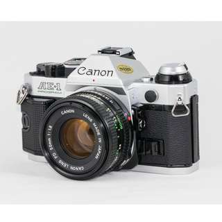 Canon AE-1 Program Film SLR + FD 50mm f1.8 (Near Mint!)