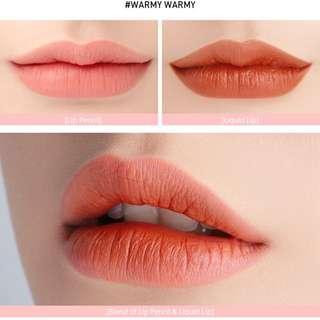 3CE Studio velvet cream lip & pencil in shade Warmy Warmy