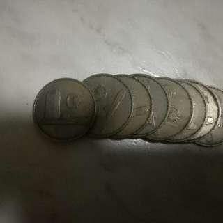 1967, malaysia 50 cents coin, 8 pcs