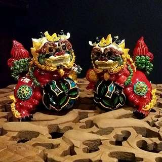 A Pair Of Foo Dogs Very Colorful Rare