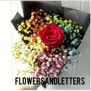 Fresh Flower Bouquet Colourful baby's breath with single stalk rose for the one and only 🌹 flower bouquet hand bouquet