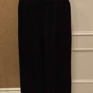 黑色針織寬褲