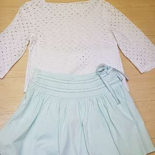 White Top and Pastel Skirt