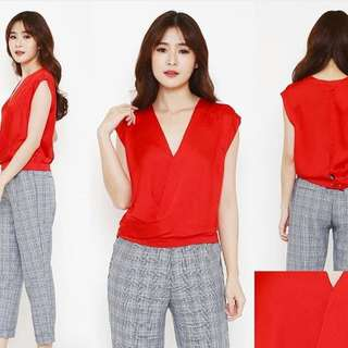 Wrap Top Red (R Rodriguez) -Banyak Size!