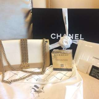 100% Authentic Chanel White and Gold Boy Rock Bag - Cruise 2013