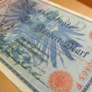 歐洲1908年德國古董百年老鈔