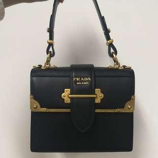 New 全新正品 Prada Cahier medium tote bag 黑色皮 手袋