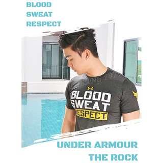 Instock UA  X  PROJECT ROCK BLOOD SWEAT RESPECT SPORTS GYM TEE