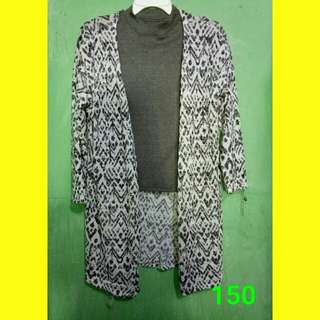 Cardigan with gray turtle neck