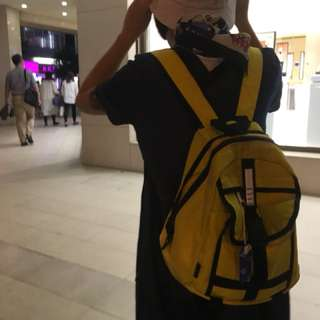 ELLE古著黃色後背包