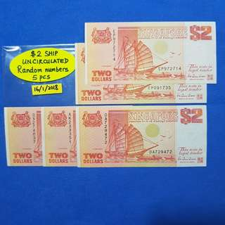$2 SHIP.   ORANGE COLOUR.   UNCIRCULATED.   5 PIECES RANDOM NUMBERS.