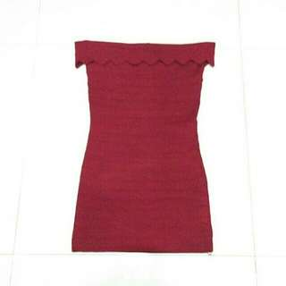 Knitted Sabrina Red Dress