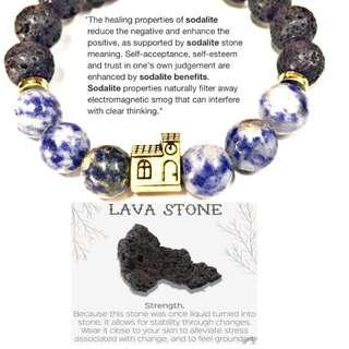 House sodalite and lava rock bracelet