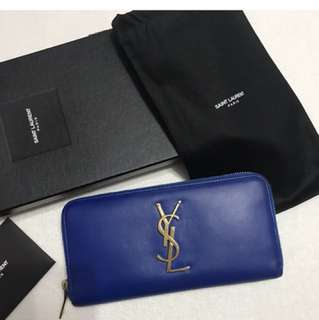 ysl long wallet blue
