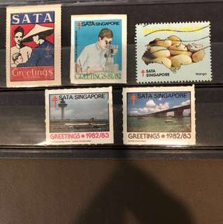 Clearing Stocks: Singapore Early SATA Stamps 5 Pieces, From 1950, Mint And Used