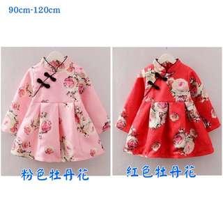 女童旗袍連衣裙春秋款兒童民族風薄款中國風女寶寶長袖甜美公主裙