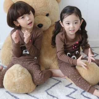 [Ready Stock] Kids Sleepwear for 2 - 12 yrs old - Brown Bear